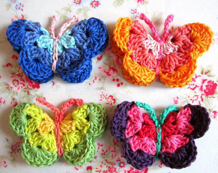 four crochet butterflies http://blog.mariesmaking.com/2011/05/crochet-butterfly-pattern.html