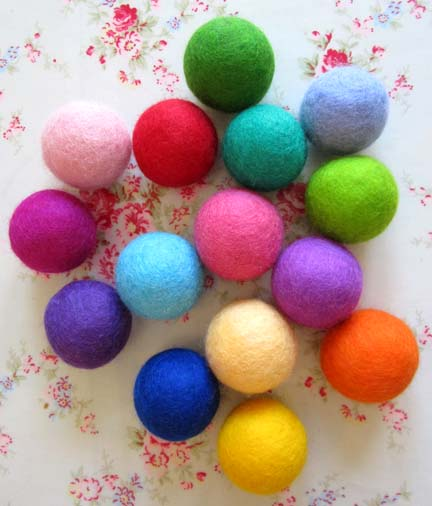 colourful needlefelt Merino wool balls