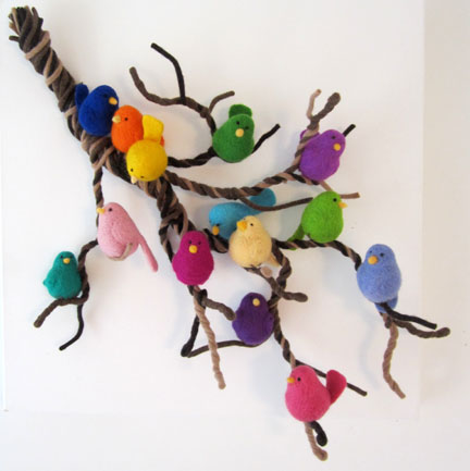 a lambswool branch of needlefelt birds