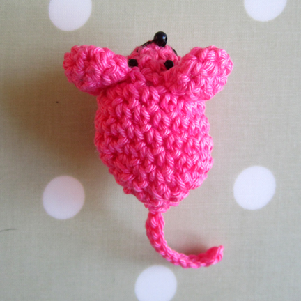 pink crochet mouse