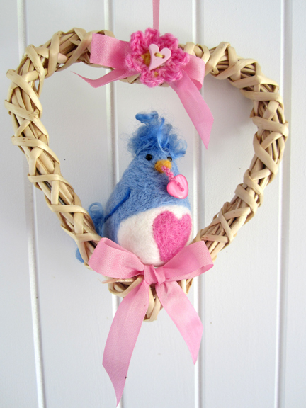 Blue and White Needlefelt  Love Bird in a heat