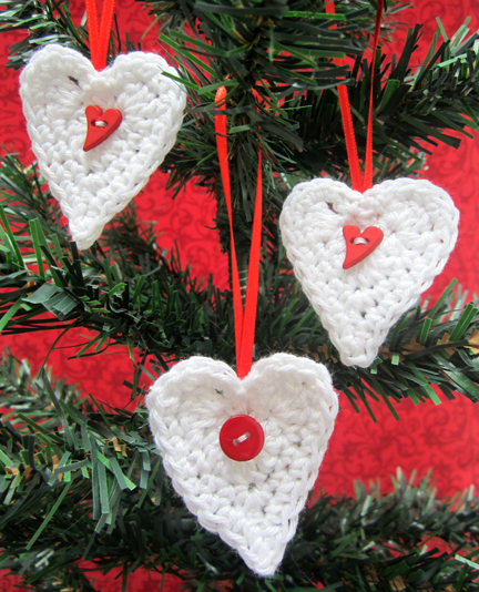 crochet heart Christmas decorations