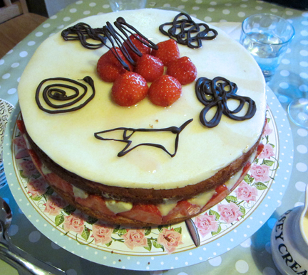 Fraisiere Cake with chocolate dachshund - family gathering