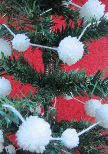 Pompoms on tree Advent Calenday Day Ten