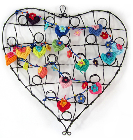 Hearts and Flowers Crochet Garland
