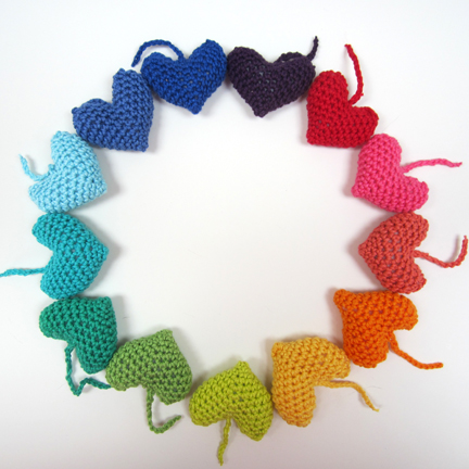 rainbow crochet hearts