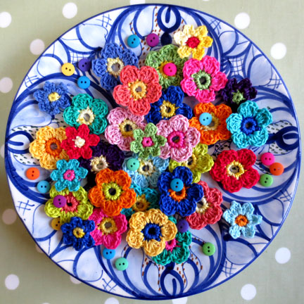 crochet flowers on a plate