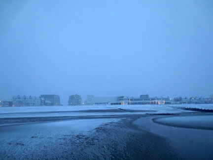 snow at seaside Bexhill