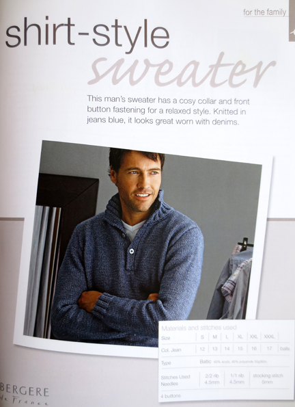 man's sweater knitting and stitching