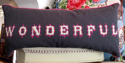 cushion embroidered with Wonderful - Serendipity