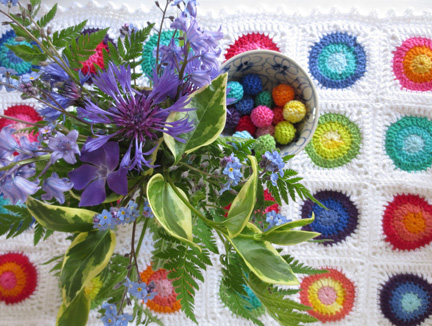 crochet circles and flowers