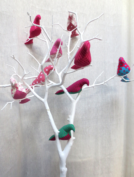 pink Fabric birds in tree