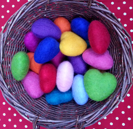 needlefelt hearts for Christmas Fair