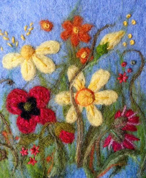 Needlefelt flowers with embroidery