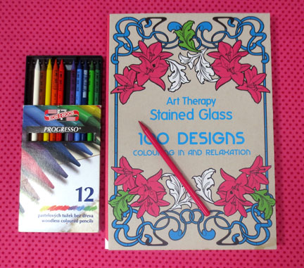 Stained glass colouring book, art therapy
