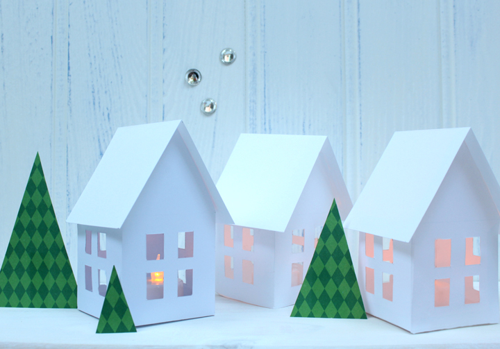 Nordic Houses |electric tea light holders | PDF pattern | Christmas Craft