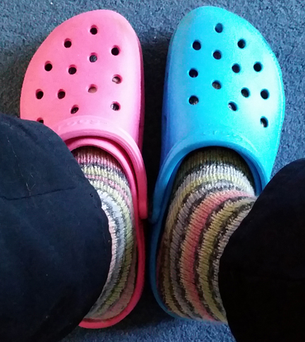 Pink & Blue Crocs for Happy Friday